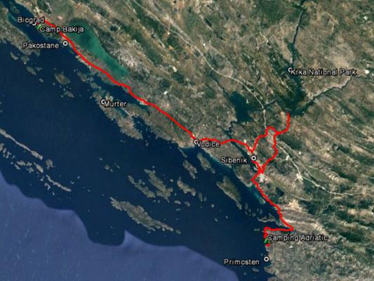 Aufgezeichneter Track aus meinem GPS, 102 km