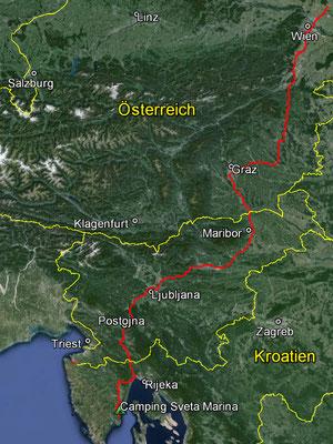 Aufgezeichneter Track aus meinem GPS, 600 km