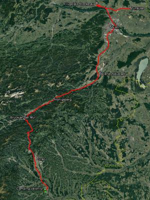 Aufgezeichneter (und teilweise rekonstruierter) Track aus meinem GPS, 321 km