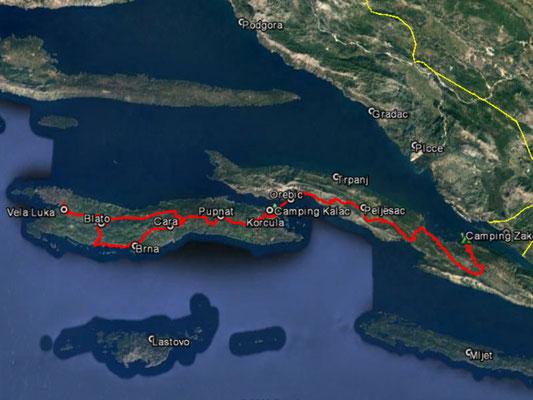 Aufgezeichneter Track aus meinem GPS, 158 km