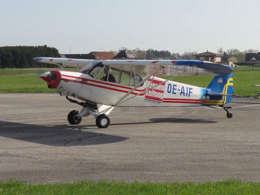OE-AIF Piper PA18 Super Cup - klassisches Spornrad-Flugzeug von meinen Freunden aus Wels, auch zum Schleppen geeignet, fliegt einfach schön, heute leider verkauft.