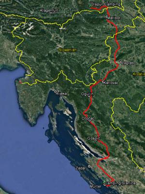 Aufgezeichneter Track aus meinem GPS, 499 km