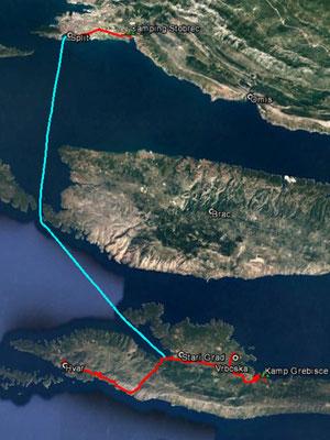 Aufgezeichneter Track aus meinem GPS, 80 km (ohne Fähre)
