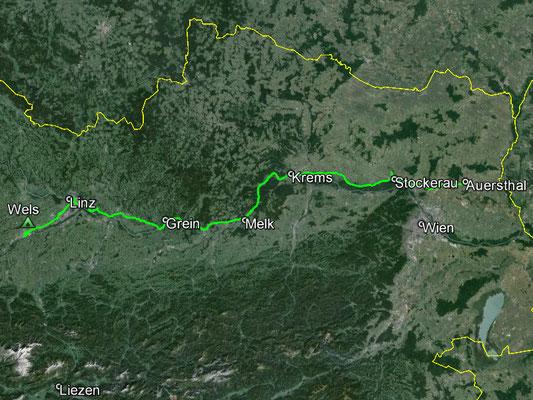 Aufgezeichneter Track aus meinem GPS, 268  km
