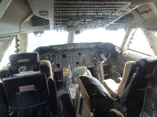 Jumbo-Cockpit, damals noch mit Bord-Ingenieur