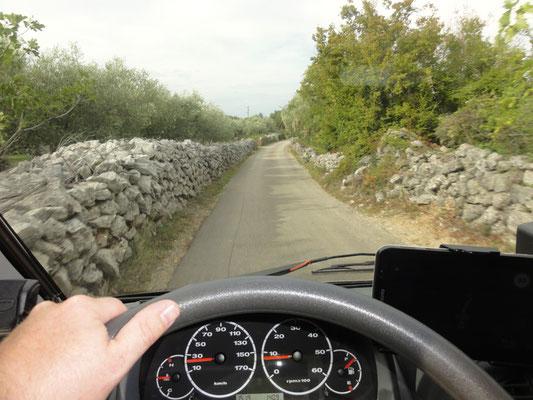 Straße nach Glavotok. Die glauben die Steine vom Boden auf und schütten am Grundstücksrand Mauern auf. Der mit den stärksten Mauern hat den schlechtesten Grund - so einfach ist das.