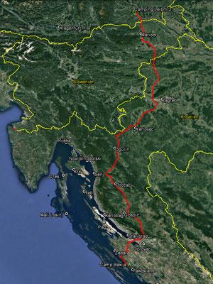 Aufgezeichneter Track aus meinem GPS, 452 km
