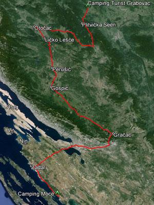Aufgezeichneter Track aus meinem GPS, 261 km
