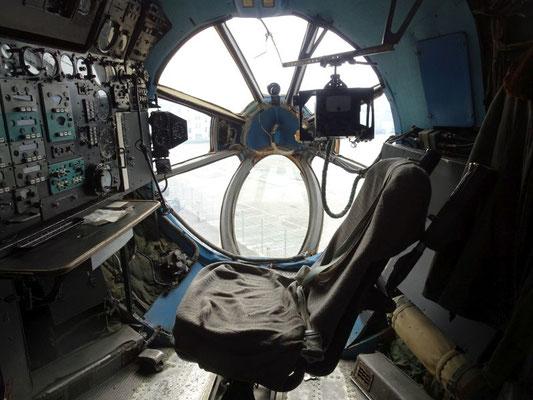 Netter Ausblick für den Navigator in der Flugzeugnase