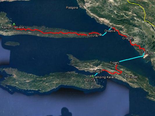 Aufgezeichneter Track aus meinem GPS, 102 km (ohne Fähre)