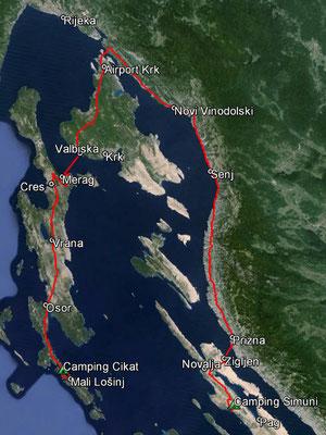 Aufgezeichneter Track aus meinem GPS, 224 km