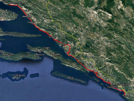 Aufgezeichneter Track aus meinem GPS, 222 km