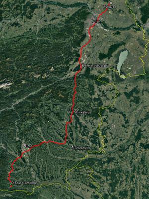 Aufgezeichneter Track aus meinem GPS, 276 km