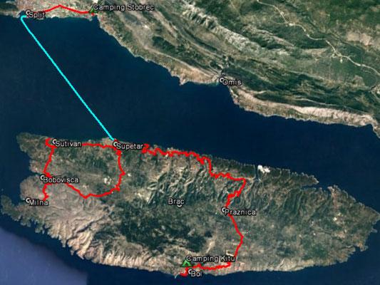 Aufgezeichneter Track aus meinem GPS, 100 km (ohne Fähre)
