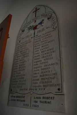 Plaque commémorative dans l'Eglise de Montclar