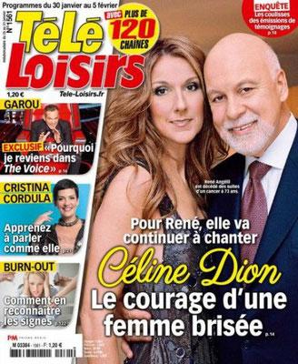 Céline Dion, René Angelil - Couverture Tele Loisirs Magazine  [France] (30 Janvier 2016)