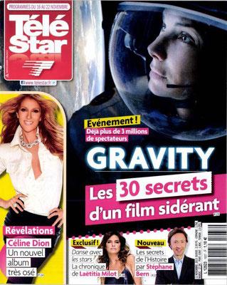 Gravity, Céline Dion - Couverture Télé Star Magazine [France] (16 Novembre 2013)