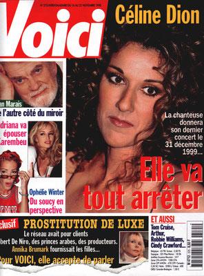 Céline Dion... - Couverture Voici Magazine [France] (16 Novembre 1998)