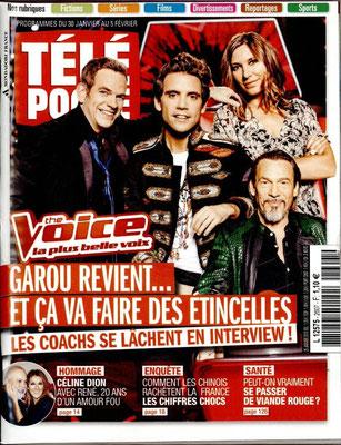 The Voice, Céline et René - Couverture Télé Poche Magazine[France] (30 Janvier 2016)