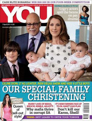 Celine Dion et ses enfants - Couverture You Magazine  [Afrique du sud] (7 Avril 2011)