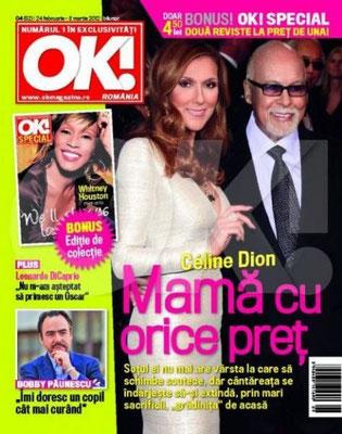 Céline Dion et René - Couverture OK! Magazine  [Romanie] (24 Fevrier 2012)