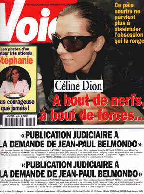 Céline Dion - Couverture Voici Magazine [France] (30 Septembre 1996)