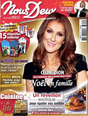 Céline Dion - Couverture Nous Deux Magazine  [France] (14 Decembre 2010)