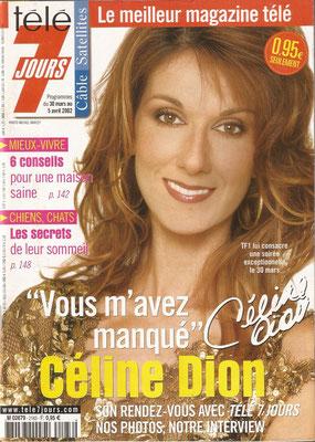 Celine Dion - Couverture Télé 7 Jours Magazine [France] (30 Mars 2002)