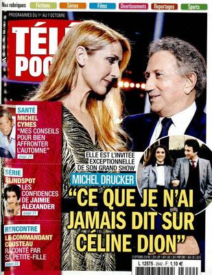 Céline Dion et Michel Drucker - Couverture Télé Poche Magazine [France] (1 Octobre 2016)