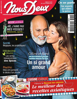 Celine Dion and Rene Angelil - Couverture Nous Deux Magazine  [France] (2 Fevrier 2016)