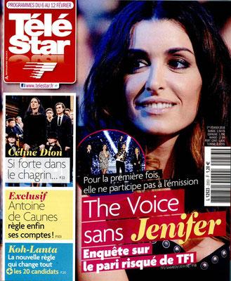 Jenifer, Céline Dion - Couverture Télé Star Magazine [France] (6 Février 2016)