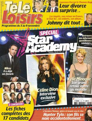 Céline Dion, Nikos, Kylie Minogue - Couverture Tele Loisirs Magazine  [France] (29 Octobre 2007)
