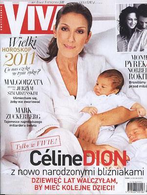 Celine Dion et ses jumeaux  - Couverture VIVA Magazine [Pologne] (5 Janvier 2011)