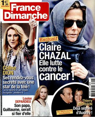 Celine Dion - Couverture France Dimanche Magazine [France] (8 Octobre 2016)