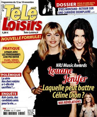 Louane , Jenifer , Céline Dion - Couverture Télé Loisirs Magazine [France] (12 Novembre 2016)