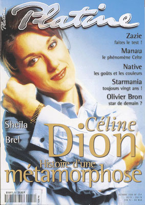 CelineDion - Couverture Platine Magazine [France] (Octobre 1998)