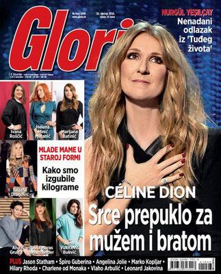 Céline Dion - Couverture Gloria Magazine  [Croatie] (21 Janvier 2016)