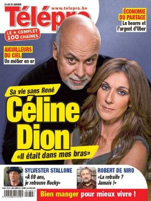 Céline Dion, René Angelil - Couverture Télépro Magazine  [Belgique] (23 Janvier 2016)