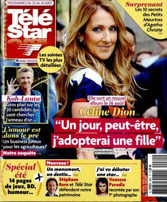 Céline Dion - Couverture Télé Star Magazine [France] (20 Aout 2016)