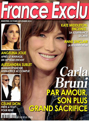 Carla Bruni, Angelina Jolie, Celine et René - Couverture France Exclu Magazine [FRANCE] (Octobre - Novembre 2014)