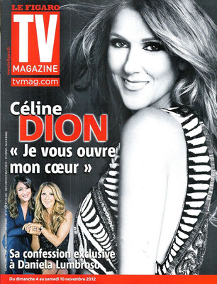 Céline Dion - Couverture TV Magazine  [France] (2 Novembre 2012)