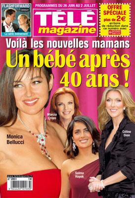 Céline Dion , Monica Belluci... Couverture Télé Magazine [France] (26 Juin 2010)