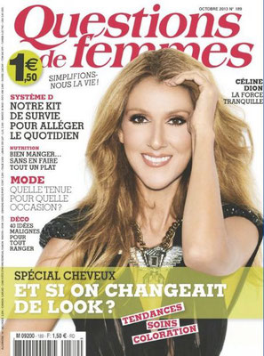 Céline Dion - Couverture Questions De Femmes Magazine  [France] (Octobre 2013)