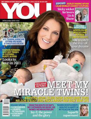 Celine Dion et ses jumeaux - Couverture You Magazine  [Afrique du sud] (30 Decembre 2010)