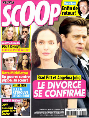 Pitt, Céline Dion - Couverture Scoop Magazine [France] (Aout - Septembre 2016)