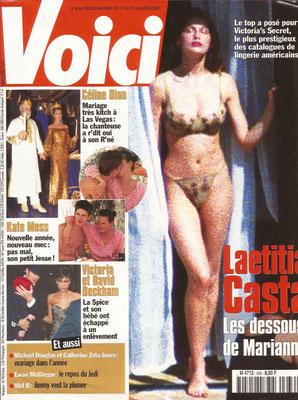 Laetitia Casta, Céline Dion... - Couverture Voici Magazine [France] (17 Janvier 2000)