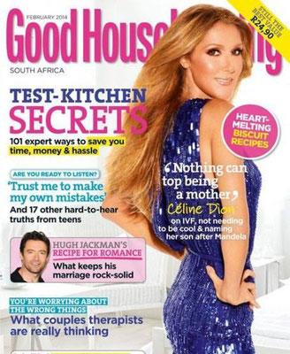 Céline Dion - Couverture Good Housekeeping Magazine  [Afrique du sud] (Fevrier 2014)