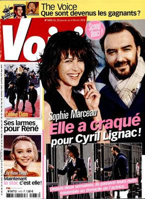 Sophie Marceau , Céline Dion - Couverture Voici Magazine [France] (29 Janvier 2016)