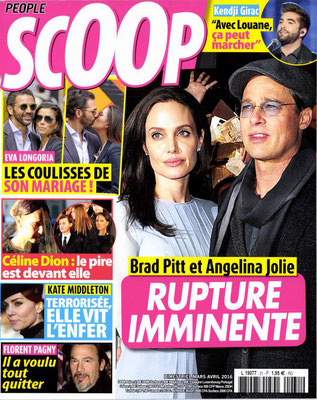 Angelina et Brad Pitt, Céline Dion - Couverture Scoop Magazine [France] (Mars - Avril 2016)