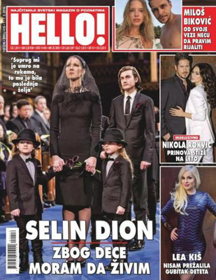 Céline Dion et ses enfants - Couverture Hello! Magazine  [Serbie] (1 Fevrier 2016)